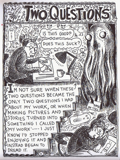 "A woman sits at a table writing in her notebook. She is haunted by a large octopus, and the two questions ""Is this good?"" and ""Does this suck?"""